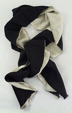 "NEW J. CREW REVERSIBLE LARGE SILK SCARF WRAP BLACK IVORY 79"" x 9-3/4"""