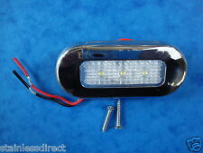12 VOLT STAINLESS OBLONG BOAT /CARAVAN / COURTESY / LIGHT- 3 COOL BLUE LEDS