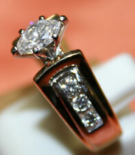 ladies 14KT two-tone diamond engagement ring. .44ct Marquise center, .28ct sz 7