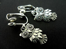 A PAIR OF  CUTE LITTLE TIBETAN SILVER DANGLY OWL  CLIP ON EARRINGS. NEW.