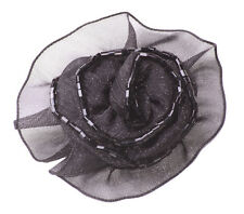 Alluring Sheer Black Ribbon & Black Beaded Easy Pin Back Rose Brooch(Zx145)