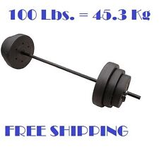 Adjustable Weight Set Barbell Lifting Bar 100 Lbs Dumbbell Gym Fitness Workout