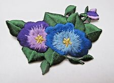 #4536 Purple Blue Flower Embroidery Iron On Appliqué Patch