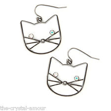 KATY PERRY, CAT FACE EARRINGS WITH CRYSTAL EYES, DROP EARRINGS, CLAIRE'S