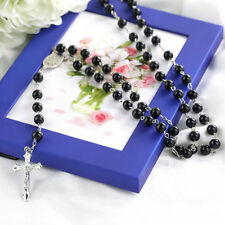Mens Cross Pendant Black Simulated-Pearl Rosary Beads Necklace Silver tone EV