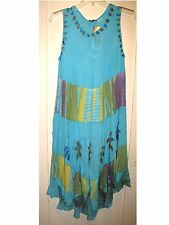 Turq/Purple Embroidered Palms Tie Dye Full Dress/Cover-up Gauze 1X NWT