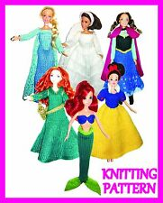 "6 KNITTING PATTERNS FOR BARBIE, DISNEY PRINCESS, 12"" DOLL COSTUMES -  ALL 6!!"
