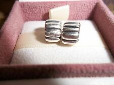 Genuine Authentic Pandora Silver Ribbed Clip Charms PAIR 790163