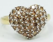 14K Yellow Gold PAVE Encrusted .65CTW Chocolate Diamond Heart Ring E1360