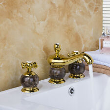 Modern Set Ceramic Gold Plated Brass Mixer Faucet Basin Sink Wash Widespread Tap
