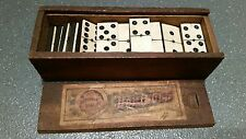 Vintage Bovine Bone & Ebony Dominoes 28 With Brass Studs Boxed Chad Valley Rare