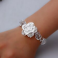 "Sale! 7"" Silver Carved Flower No Stone Bracelet, Gift Box Girl Christmas Present"