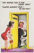 SAUCY POSTCARD - seaside comic, toilet humour drunk, ladies only, Bamforth #2007