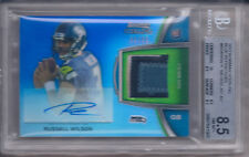 RUSSELL WILSON 2012 BOWMAN STERLING AUTO ROOKIE RELICS BLUE REF BGS 8.5/AU 10