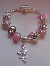 "CHILDRENS CHARM BRACELET 5.5"" FAIRY DIY LOTS OF CHARMS"