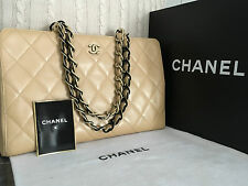 "100% CHANEL Beige Quilted Lambskin 2 tone chain CC 15"" Grand Shopper Tote Bag"