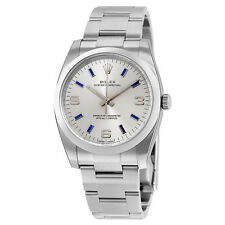 Rolex Airking Silver Arabic Blue Index Dial Domed Bezel Mens Watch 114200SABLSO