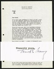 VERY RARE! Frank Hering Autographed Letter - Notre Dame Fighting Irish Football