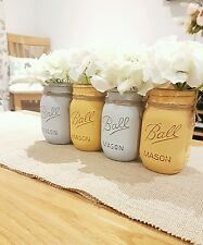 Painted Mason Ball Jars set of 4 - Perfect for Weddings & Home decor