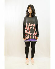 Lady Multi Leaves Print Batwing Knitted Cotton Long Sweater Jumper Top Black