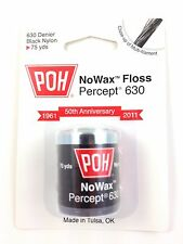 POH Black No Wax Dental Floss, Thicker Nylon 75 Yards MADE IN USA