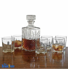 Whiskey Decanter Set Glass Bottle 6 Glasses Crystal Like Liquor Wine Stopper