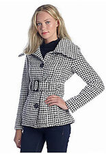 women Coat Houndstooth Belted wool Blazer stripes jacket M NWT $72