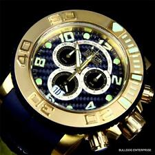Invicta Sea Hunter 58mm Gold Tone Black Rubber 0415 Swiss Chronograph Watch New