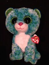 """JUSTICE EXCLUSIVE TY BEANIE BOO LEONA THE LEOPARD BLUE & GREEN 8"""" LEOPARD NWT"""
