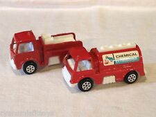 Vintage  1960'S Fire Truck LOT -  By Tootsie Toy - FIRETRUCK & CHEMICAL TRUCK
