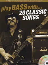 Play Bass Guitar with 20 Classic Songs TAB Book & Play-Along Backing Tracks CD