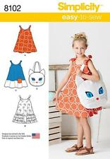 SIMPLICITY SEWING PATTERN CHILD'S SUNDRESS & KITTY TOTE BAG SIZE 3 - 8  8102 A