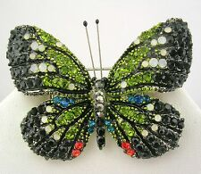 """Joan Rivers Multi Color Butterfly Pin with Crystals   2"""" Blk,Green White red"""