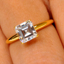 1.85CT SQUARE SOLITAIRE D/VVS1 14K SOLID YELLOW GOLD FINE ENGAGEMENT RING SIZE 7
