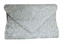 NEW SATIN LACE FLORAL EVENING CLUTCH ENVELOPE HANDBAG WEDDING PARTY PROM BRIDAL