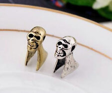 SILVER SKULL HALLOWEEN HELIX CLIP ON EAR CUFF EARRINGS SKELETON bone top UK