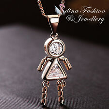 18K Rose Gold Plated Simulated Diamond Shiny Cute Little Girl Necklace