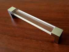 "6.3"" Large Acrylic Drawer Pulls Kitchen Cabinet Door Handles Clear Chrome 160 mm"