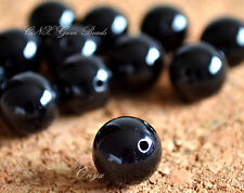 5 Beads of Natural Black Onyx Polished Round Beads 10mm Gemstone Crystal DIY