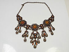 Vintage Bronze Tone Faux Amber & Champagne & Amber Rhinestone Bib Necklace