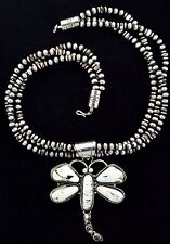 Native American Navajo Indian Jewelry SS White Buffalo Dragonfly Necklace