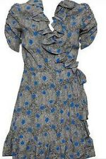 Kate Moss Topshop Iconic Blue Snake Spot Wrap Mini Tea Dress Celeb Vtg Debut 14