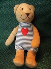 "IKEA Fabler Bjorn Teddy Bear Blue Stripe w/ Red Heart Plush Baby Toy 9"" approx"