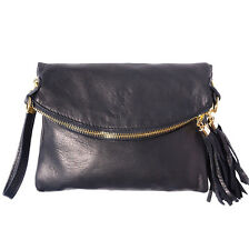 Clutches Bag Italian Genuine Leather Hand made in Italy Florence 9602 bk