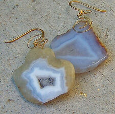 PURPLE PERIWINKLE LILAC MOROCCAN DRUZY PENDANT GEM EARRINGS BIG ALL NATURAL GOLD