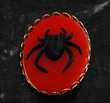 """LTV Creation """"Code Red Spider"""" Pin Brooch Gold Plated Metal Resin Cameo"""
