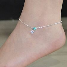 Simple Elegant Star with Blue Bead Anklet Foot Chain Ankle Bracelet UK