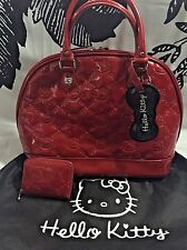 HELLO KITTY EMBOSSED LARGE DOME SATCHEL BOWLER BAG PURSE & WALLET RED AUTHENTIC