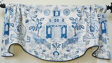 RICHLOOM TEAHOUSE-SCALLOPED WINDOW VALANCE / LINEN TOILE CHINOISERIE
