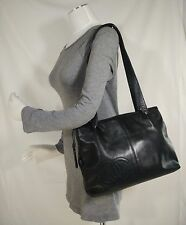 Auth Chanel Black Calfskin Leather Vintage Tote/ Shoulder bag with CC